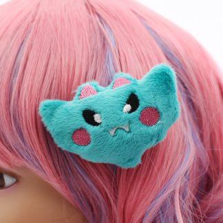 Kawaii Bat Plush Hair Clip - Teal
