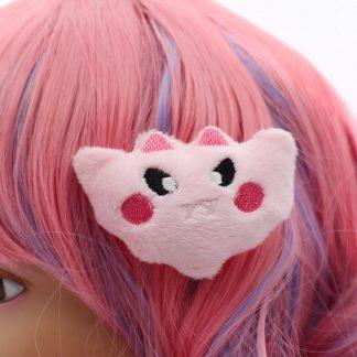Kawaii Bat Plush Hair Clip - Pink