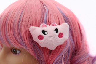 Kawaii Bat Plush Hair Clip - Pink