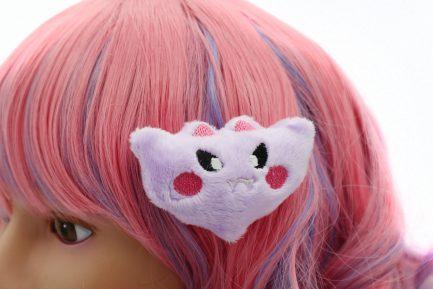 Kawaii Bat Plush Hair Clip - Lavender