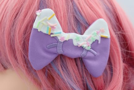 Decoden Frosted Bows For Girls Super Cute Kawaii Frosted Hair Clips - Lavender