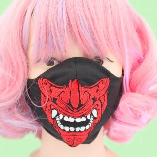 Samurai Adult Face Mask With Filter Pocket - Red and Black