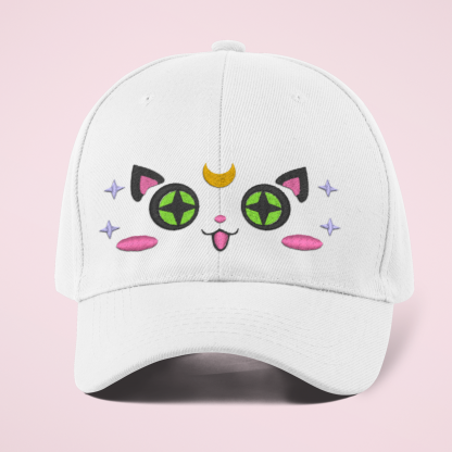 Kawaii Moon Cat Embroidered Baseball Cap