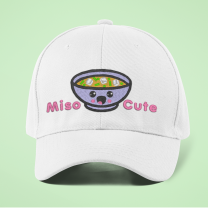 Miso Cute Embroidered Kawaii Baseball Cap- White