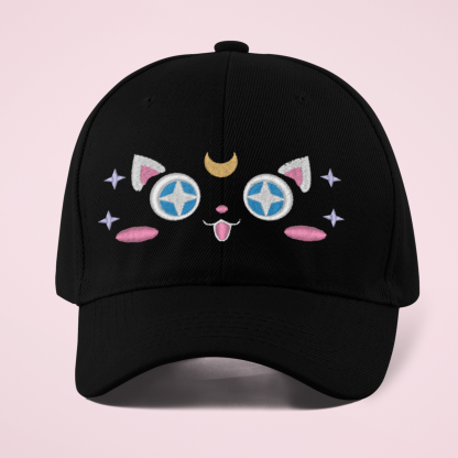 Kawaii Moon Cat Embroidered Baseball Cap For Women And Teens