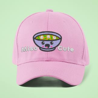 Miso Cute Embroidered Kawaii Baseball Cap- Pink