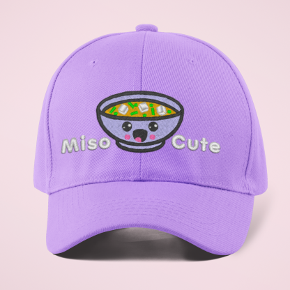 Miso Cute Embroidered Kawaii Baseball Cap- Lavender