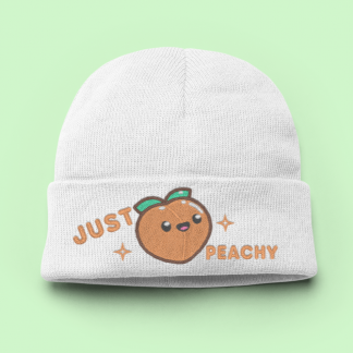 Just Peachy Kawaii Knit Beanie Hat - Kawaii Peach Womens Winter Hat