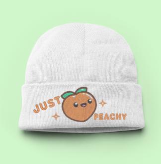 Just Peachy Kawaii Knit Beanie Hat - Kawaii Peach Womens Winter Hat