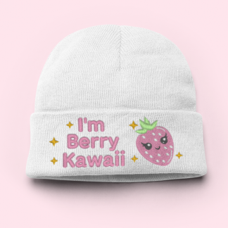 i'm berry kawaii strawberry knit beanie winter hat by kawaii Hair Candy
