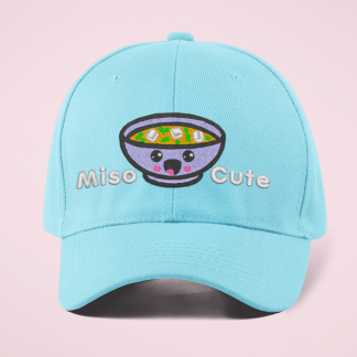 Miso Cute Embroidered Kawaii Baseball Cap- Blue by Kawaii Hair Candy