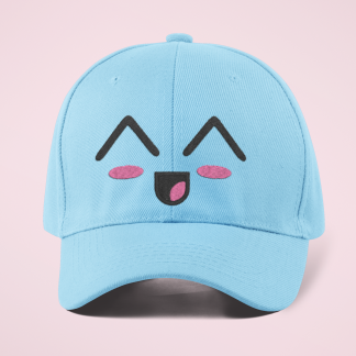 Kawaii Laughing Face Embroidered Baseball Cap For Women - Blue