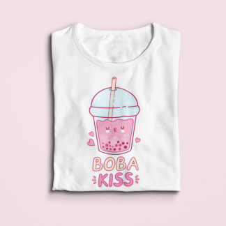 Boba Kiss Cute Tshirt For Women - Cute Graphic Tees For Women