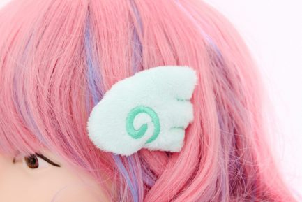 Kawaii Angel Wing Plush Hair Clip Set - Mint