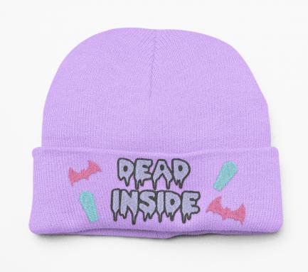 Super Cute Kawaii Pastel Goth Dead Inside Beanie Hat - Lavender