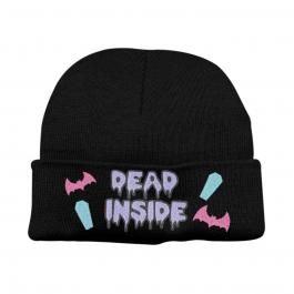 Super Cute Kawaii Pastel Goth Dead Inside Beanie Hat – Black