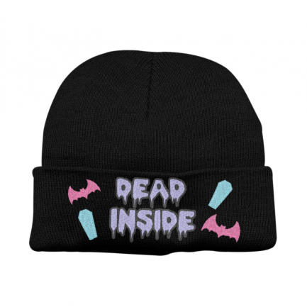 Super Cute Kawaii Pastel Goth Dead Inside Beanie Hat - Black