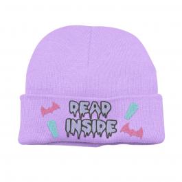 Super Cute Kawaii Pastel Goth Dead Inside Beanie Hat – Lavender