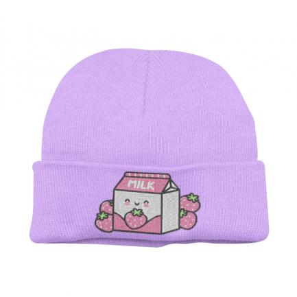 Kawaii Strawberry Milk Beanie Hat - Lavender
