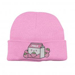 Kawaii Strawberry Milk Beanie Hat – Pink