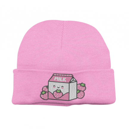 Kawaii Strawberry Milk Beanie Hat - Pink