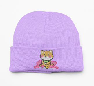Super Cute Kawaii Shiba Inu Beanie Hat - Doge Fashion - Kawaii Clothing - Cute Hat - Embroidered Knit Beanie Hat - Dog Lovers