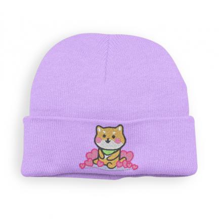 Kawaii Shiba Inu Beanie Hat - Lavender