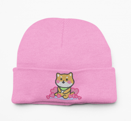 Kawaii Shiba Inu Beanie Hat - Pink